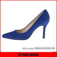 2015 mature italian fashion blue kid suede sexy stiletto high heels design dress shoes for women donguang factory