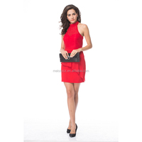 Hot sale red sleeveless high halter neck appliqued modest office mini dress