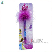 Plastic crown head promotional gift feather led light up ball pen , gift pen set , custom logo pen