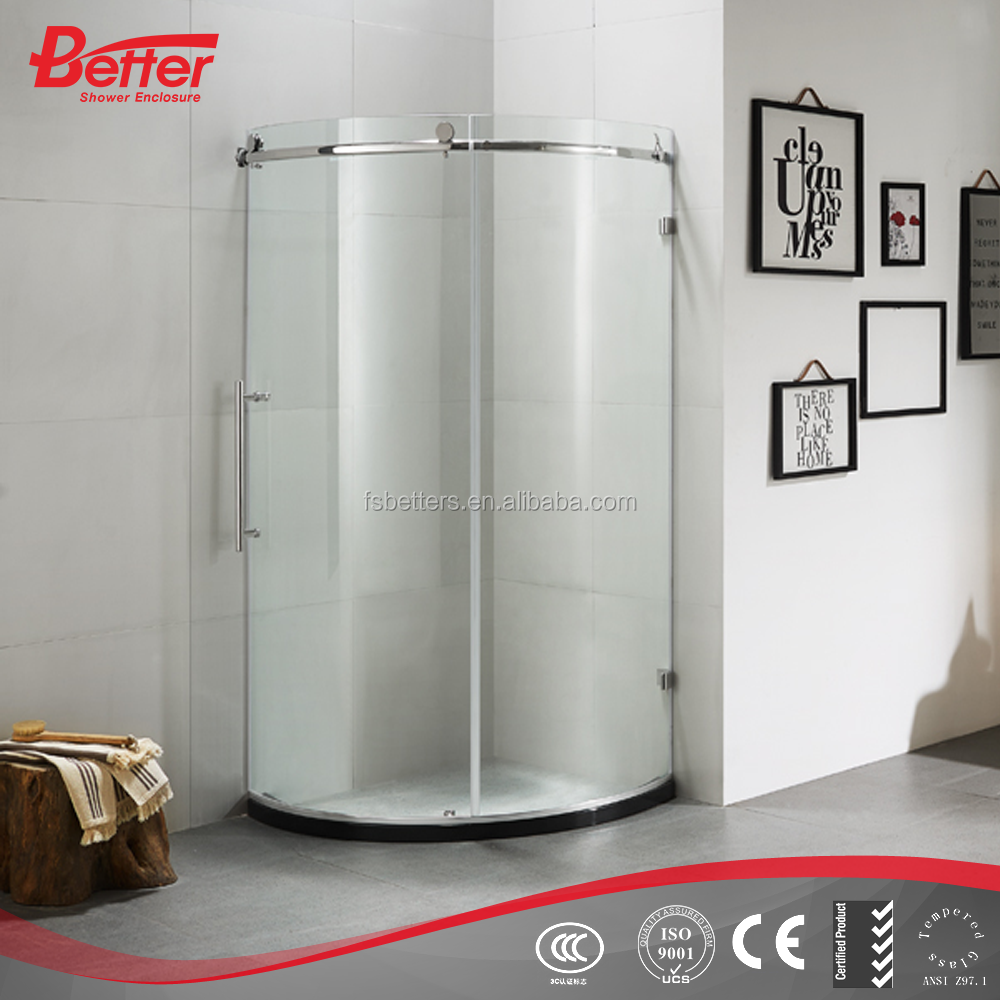Round sliding obscure glass shower doors with curved glass
