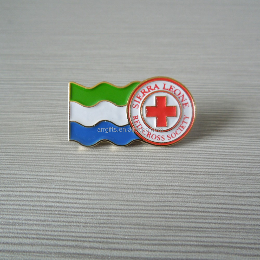 customized red cross and national flag lapel pin for promotion