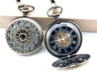 cobweb mechanical pocket watch snow white face and black Factory direct sale!