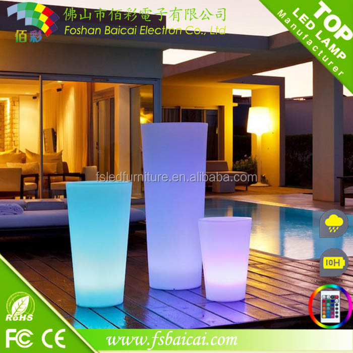 New style plastic waterproof LED garden flower vase/LED pot for decoration