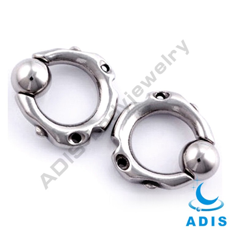 Big Gauge Bead Anodized Black BCR Hinged Nose Rings