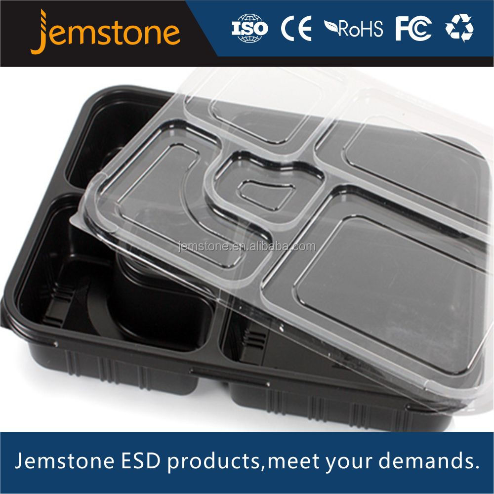 PP Plastic Disposable 5 Compartment Takeaway Food Container Lunch Tray