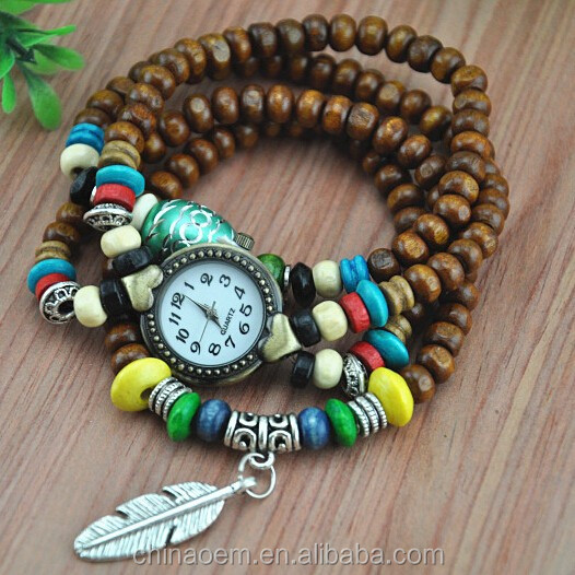 Relogio Feminino 100% NEW Vintage Watches Stretch Bracelet Beaded Watches Feather Pendant vintage vogue beads wrist watch women