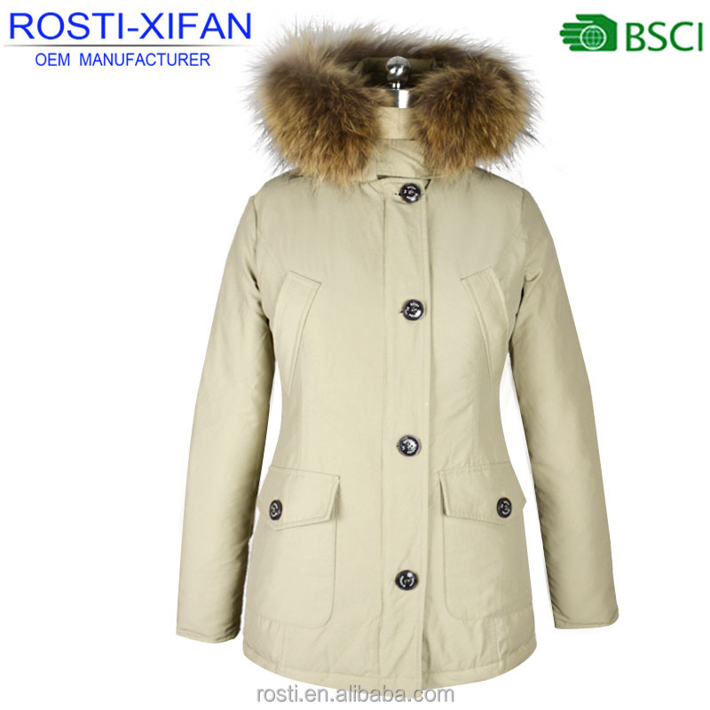 European Style Ladies Winter Faux Winter Down Parka Jacket with Raccoon Fur