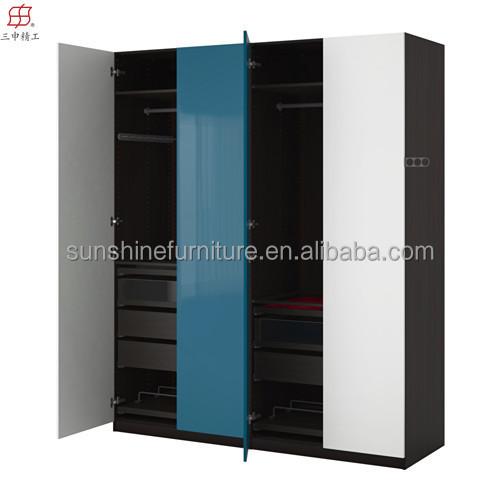 pas cher moderne armoire en bois chambre placards armoires de vestiaires tissu armoire buy. Black Bedroom Furniture Sets. Home Design Ideas