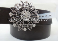 New design high quality pu leather belt with crystal rhinestone buckle