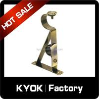 KYOK Hot sale classic style curtain rod bracket, double/single curtain pipe holder, wrought iron curtain pole wholesale