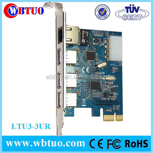 3ports usb3.0 hub pcie rj45 adapter card