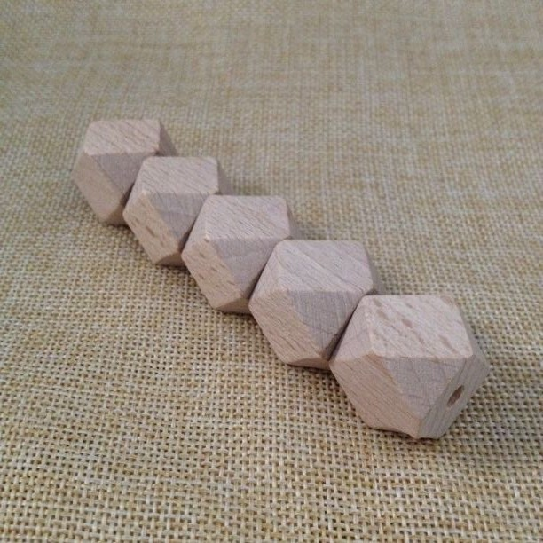 Natural Beech Wood Hexagon Geometric Beads ,DIY Project Wood Hex Beads 20mm