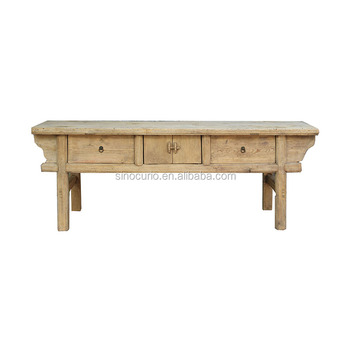 Dongbei furniture antique elm wood hobby lobby console table raw finish recycled furniture