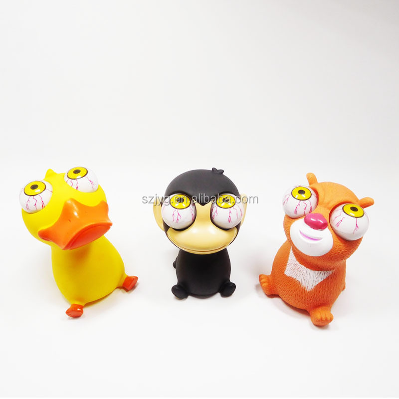 Anti-stress Cartoon Style Big Eyes Squeeze Toys Vinyl Pop Eye Animal Toy