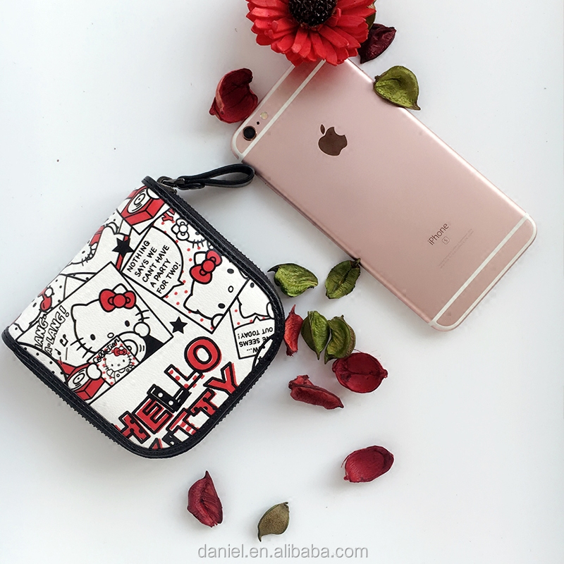 Hello kitty cute pu jean coin purse for women coin bags Shenzhen supplier