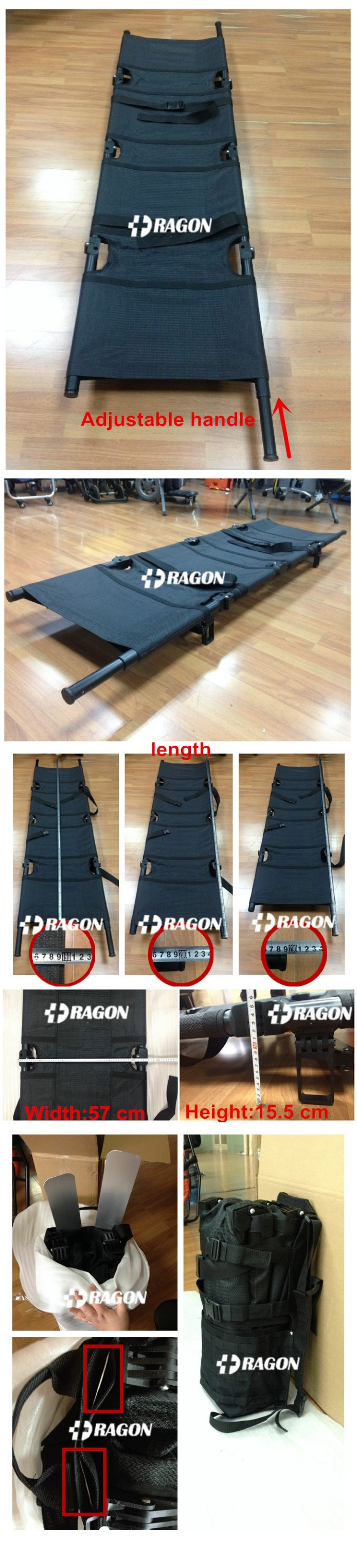 Military use medical device 4 folded aluminum army stretcher