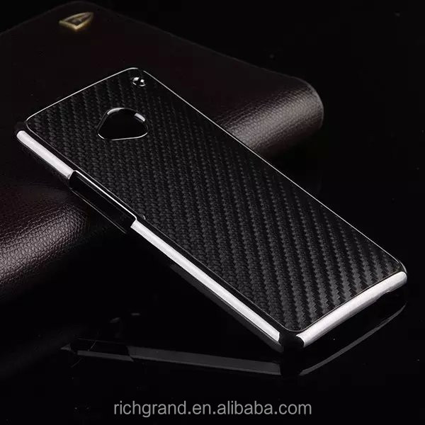 Hot Sale For HTC one M7 Carbon Fiber Back Case Covers With Gold Frame