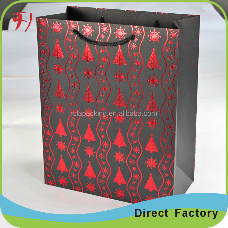 Custom Printed Recycle big black card paper carrier bag for shopping