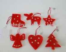 wool felt decoration deer, tree, stocking, angel, heart,star