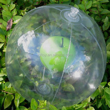 Promotional clear transparent plastic ball inflatable beachball with apple inside