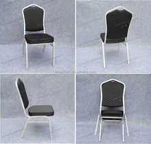 YC-ZG11 Steel banquet chair with black dot fabric and silver tube