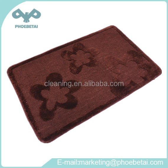 Acrylic OEM pattern cut plush floor mat for bath room, door side and car