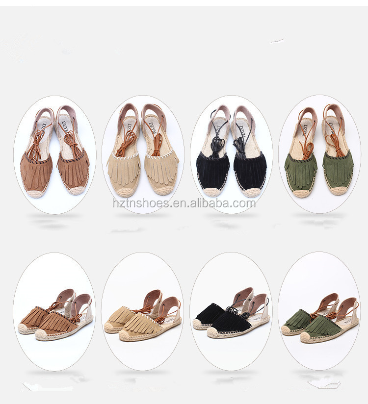 2017 new fashion leather sandals handmade hemp rope shoes cross lace-up espadrilles shoes with flat sole