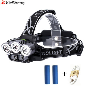Xiesheng YG-428 Head Lighting 20W LED Headlight 6 Modes 5000LM 5 LED Head lamp T6 HeadLamp for Camping Fishing