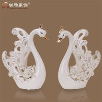 New style Home and hotel decoration the holiday gift ceramic hollow sculpture White Swan