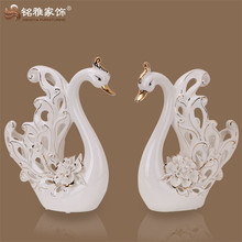 New style home and hotel decoration the holiday gift ceramic hollow white swan sculpture