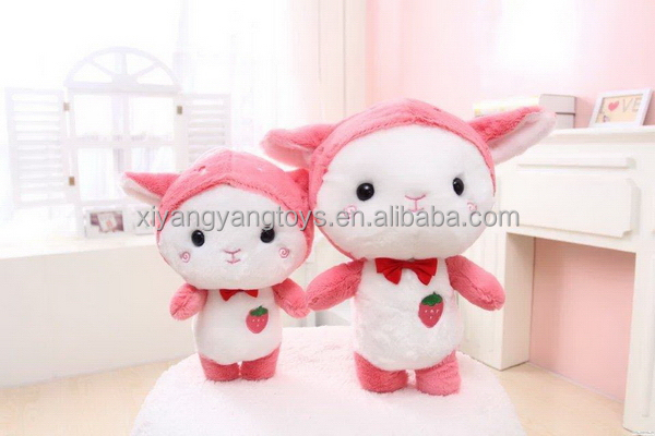 Top grade promotional plush red rabbit animal toy