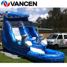 2017 Custom new design cheap commercial grade 0.55mm PVC tarpaulin pool attached children banzai inflatable water slide for sale