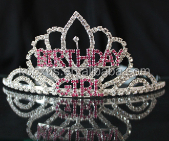 BIRTHDAY GIRL Tiara with Side Combs PEGEANT crown