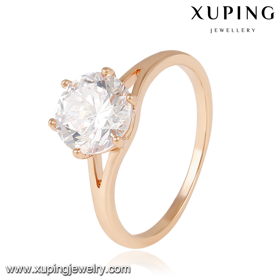 14043 Xuping Elegant Jewelry Rose Gold Color Zircon Wedding Engagement Ring