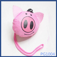 High quality cute pink animal shaped eco creative reusable hot sale handmade wholesale shopping bag