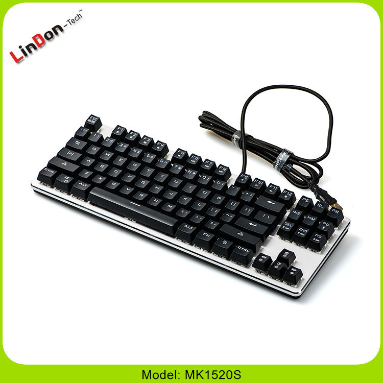Color Backlit Dimmable LED Mechanical Gaming Keyboard 87-Keys Blue Switches