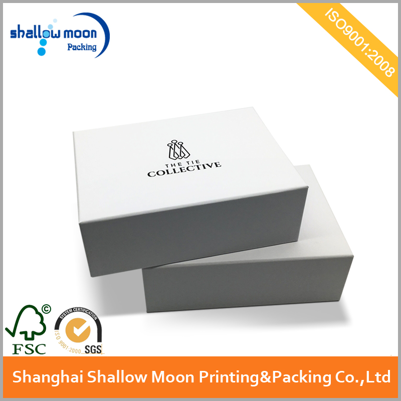 Custom white tie packing gift boxes with black logo