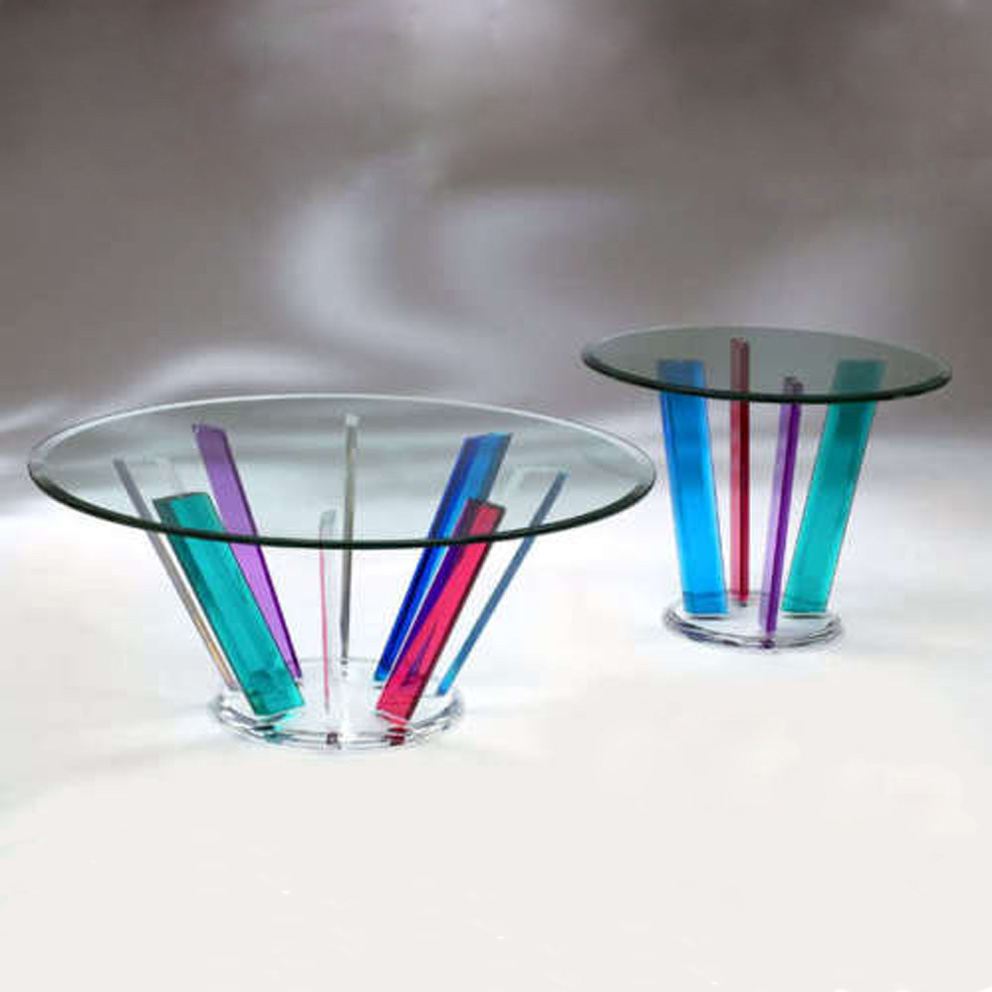 Rainbow Acrylic end table, acrylic dinning table, coffee table