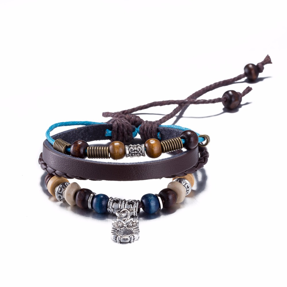 Fashion 2016 charm leather bracelet men cuff leather bracelet