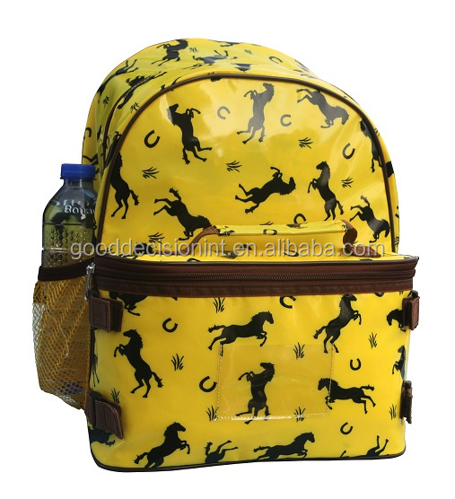 Printed Horse Pattern Backpack with lunch bag