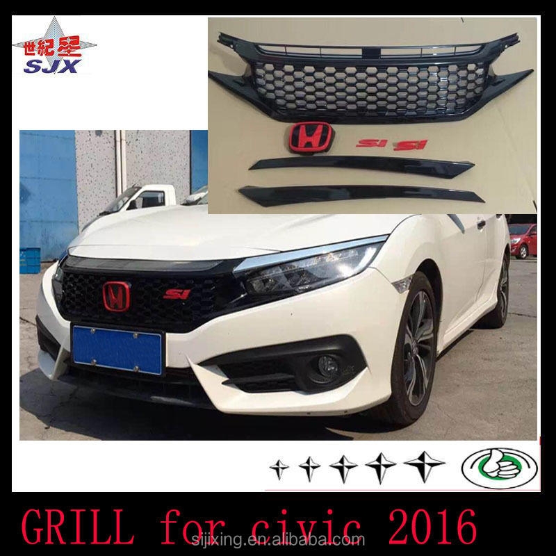 Factory direct sale car grill for civic 2016 car bodykit for civic 2016 2012 2009 grille for civic body kit spoiler