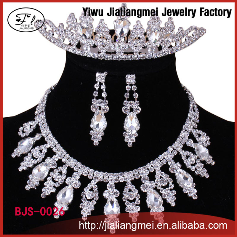 China costume diamond jewelry wedding tiara necklace earrings set
