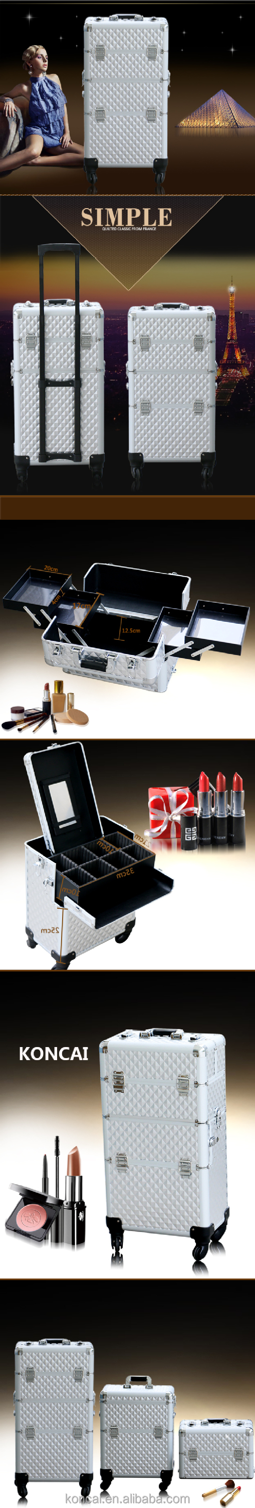 Professional 2pc in 1 trolley makeup case beauty case makeup case station