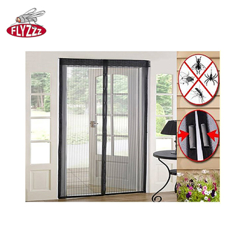 Polyester durable double open anti fly mosquito net adhesive magnetic magic mesh screen door