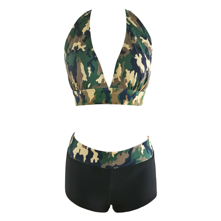 Women Camouflage Halter Boxer Bottom Swim Suits for Women 2017