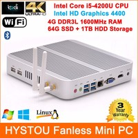 Fanless Mini PC i5 4200u Portable Computer with 4G ram 64G SSD+1TB HDD Dual Storage Windows 7/8/10 Linux Supported