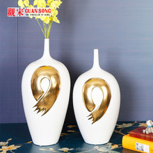 Jingdezhen gold and white calligraphy big porcelain vase home decor CY.S.0160