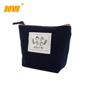 cartoon promotional custom logo plain canvas zipper cosmetic bag