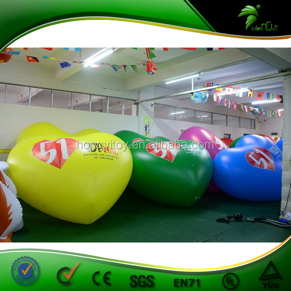Floating Inflatable PVC Wedding Party Decoration Led Balloons Heart / Heart Shaped Flying LED Advertising Balloons