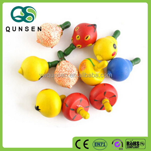 fruit shape educational toys wooden spinning top